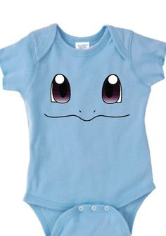 Inspired by Squirtle face Pokemon Onesie new born to 24 months sizes very cute