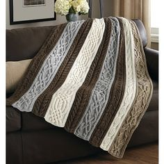 Knitting Pattern for Cable and Twists Afghan - Panels of beautiful, rich cables . Knitting Pattern for Cable and Twists Afghan - Panels of beautiful, rich cables are knit separately, then sewn together . Easy Knitting, Knitting Stitches, Knitting Designs, Knitting Patterns Free, Knit Patterns, Knitting Projects, Loom Knitting, Stitch Patterns, Knitting Tutorials