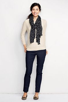 // Lofty Blend Cable Pullover Sweater with polka dots via Land's End
