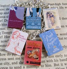 Miniature Classic Novels Jane Austen Pride and Prejudice Book Charm Bracelet by JanDaJewelry on Etsy https://www.etsy.com/listing/200014267/miniature-classic-novels-jane-austen