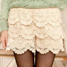 6.70 euro incl shipping Hollow out cotton lace big petals and hook embroidery three layered skirts pants(With free shipping for $10)-inPants & Capris from Apparel &...