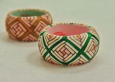 Yubinuki thimble ring with brickwork spiral motif
