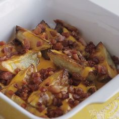 Cheddar potatoes with crispy bacon is pure comfort food.