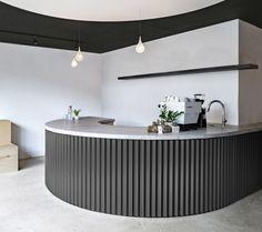 Juice Cafe, Concrete Bar, Bar Counter Design, Cafe Counter, Medical Office Design, Metal Desks, Cafe Interior Design, Corrugated Metal, Metal Bar