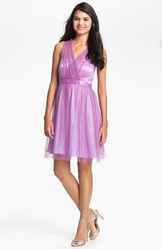 Bridesmaid dress Donna Morgan Surplice Tulle Dress available at #Nordstrom #Nordstromweddings