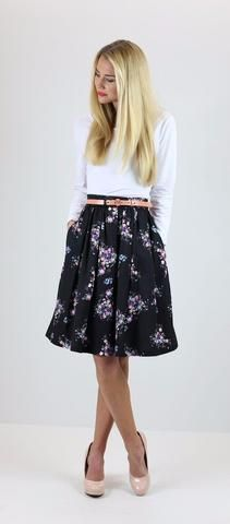 Black Floral Skirt  A modest, stylish, black skirt with a multicolored floral print.