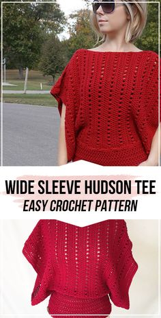 crochet Wide Sleeve Hudson Tee pattern - easy crochet tee pattern for beginners Crochet Shirt, Crochet Cardigan, Knit Crochet, Crochet Tops, Crochet Sweaters, Summer Sweaters, Casual Sweaters, Crochet Woman, Easy Crochet Patterns
