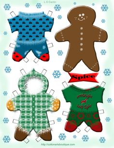 Gingerbread Cookie Paper Doll printable by robyn Preschool Christmas, Christmas Crafts For Kids, Xmas Crafts, Christmas Printables, Paper Crafts, Christmas Ideas, Christmas Gingerbread, Noel Christmas, Christmas Paper