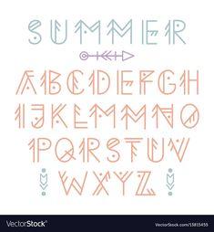 Ethnic aztec font vector image on VectorStock Cute Fonts Alphabet, Handwriting Alphabet, Hand Lettering Alphabet, Doodle Lettering, Creative Lettering, Lettering Styles, English Alphabet Calligraphy, Cool Handwriting, Font Styles Alphabet