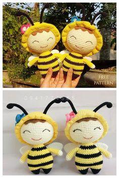 Crochet Bee, Crochet Baby Toys, Crochet For Kids, Crochet Dolls, Free Crochet, Doll Amigurumi Free Pattern, Crochet Animal Patterns, Stuffed Toys Patterns, Crochet Projects