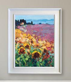 Landscape Painting Sunflowers Painting Lavender Painting Tuscany Painting Sunflower Canvas Art Lavender Wall Art Sunflower Fields Canvas