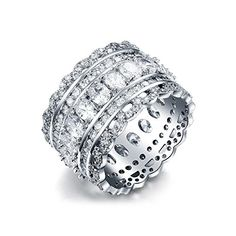 Serend Vintage Style Cubic Zirconia Wide Band Cocktail Ring 18k White Gold Plated Size 8 -- More info could be found at the image url. Note: It's an affiliate link to Amazon.