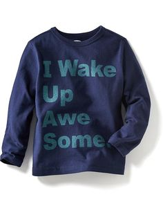 """Long-Sleeve """"I Wake Up Awesome"""" Graphic Tees for Baby Product Image"""