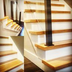Modern square edge white oak stairs in Roswell, GA Installing Hardwood Floors, Refinishing Hardwood Floors, Floor Refinishing, Oak Stairs, White Oak, Atlanta, Flooring, Modern, Home Decor