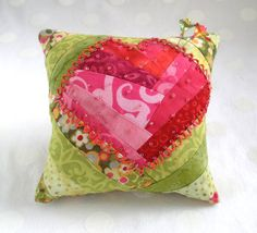 Pincushion, Beaded and Embroidered Batik Patchwork Heart in pink and green- Ready to Ship