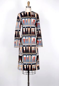 vintage 1970s graphic print triangle dress