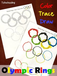 Olympic Rings Coloring, Tracing & Drawing Sheet - FREE printable worksheet for kids to color, trace and draw the Olympic symbol and learn about the O - Olympic Games For Kids, Olympic Idea, Winter Olympic Games, Kids Olympics, Summer Olympics, 2020 Olympics, Special Olympics, Olympic Ring Colors, Olympic Crafts