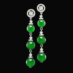 @thejewellcloset Stunning  closeup of Diamond,& Jade Earrings