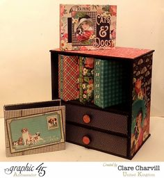Sept 2014 Graphic 45  Mini Cabinet & Albums Raining Cats and Dogs Clare Charvill Furbaby & Mini Albums