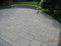 unilock patio , beacon hill flagstone Concrete Patios, Flagstone Patio, Outside Patio, Beacon Hill, Fire Pit Backyard, Outdoor Living, Outdoor Decor, Garden Spaces, Walkway