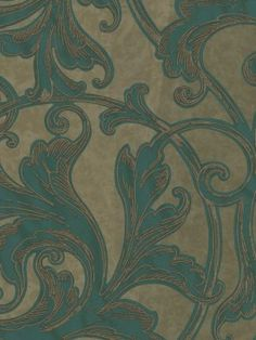 """290-50402 Acanthus Leaf Scroll from Piazza by Brewster is a 27""""/68.6 cm wide unpasted, acrylic coated Wallpaper.  This wallpaper is a green, brown and metallic gold art deco acanthus leaf scroll pattern."""