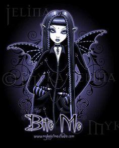 Dark+Fairy+Drawings | Gothic Blue Vampire Bite Me Fairy Art Print Mina 2