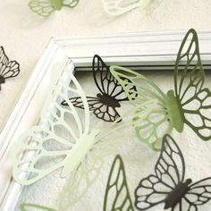 Wall Butterflies 3D Stickers KALIAH in greens and brown by Chaiv