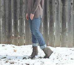 Wedge boots and cuffed jeans