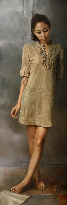 Artist: Zhu Kai 祝凯, oil on board, 2010 contemporary figurative realism beautiful asian female standing woman painting #loveart