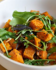 Best Roasted Sweet Potatoes with Red Onions and Arugula Recipe - The Yellow Table Side Dish Recipes, Veggie Recipes, Salad Recipes, Vegetarian Recipes, Cooking Recipes, Mexican Recipes, Salad With Sweet Potato, Sweet Potato Recipes, Argula Recipes