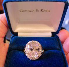 JBK Jacqueline Kennedy CAMROSE KROSS Pink Kunzite & Clear Diamonique Cocktail Ring Size 9 New Original Box Women's Jewelry by VintagePolice4U on Etsy