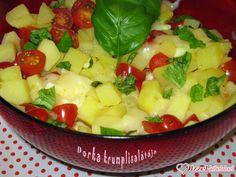Dorka krumplisalátája Fruit Salad, Mozzarella, Food, Fruit Salads, Meal, Essen, Hoods, Meals, Eten
