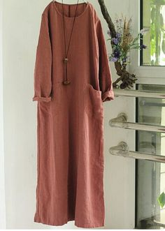 Women Cotton Linen Long Sleeve Maxi Dress