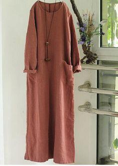 Women Cotton Linen Long Sleeve Maxi Dress