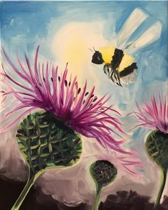 Come celebrate spring and paint a bumblebee. This project is great for ages 5 up.s step by step instructed and includes all art stuff and an canvas. Reserve a seat online today. Kids Art Class, Art For Kids, Canvas Art, Canvas Ideas, Canvas Paintings, Step By Step Sketches, Bee Painting, Sip N Paint, Social Art