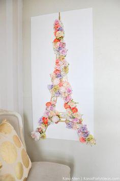 DIY Paris Eiffel Tower Floral and Gold Wall Canvas Springtime Art by Kara Allen | Kara's Party Ideas | KarasPartyIdeas.com #MichaelsMakers