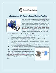 Applications of Tissue Paper Napkin Machine