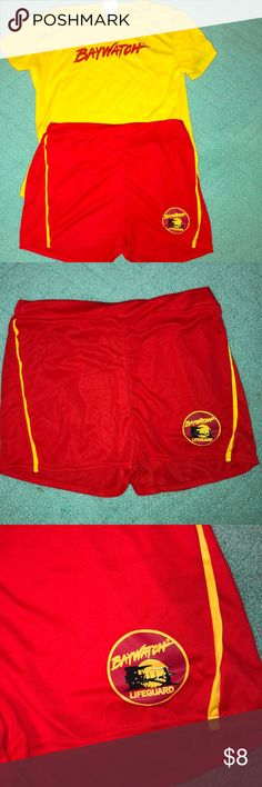 4d75c117cc Baywatch top + bottom costume Polyester baywatch red shorts and yellow shirt  with the baywatch logo
