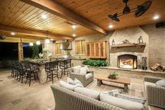 Put your backyard to good use by putting in an outdoor kitchen, an arbor, a cabana or even a custom deck or patio. Patio Kitchen, Outdoor Kitchen Design, Patio Design, Outdoor Kitchens, Outdoor Cooking, Rustic Kitchen, Outdoor Living Rooms, Outdoor Spaces, Living Spaces
