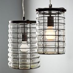 Linear Blown Glass Pendant Wire Frame $149.00 Westelm.com