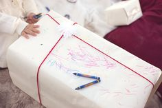 Let the kids color- Great way to wrap the Grandparents' gifts.