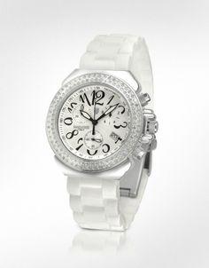 Lancaster White Pillo Diamond Silicone Band Chrono Watch