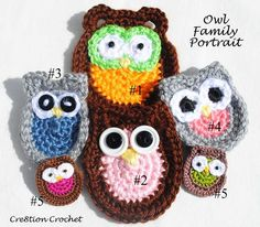 Owl Family, *Five* Free Patterns from Crea8tion Crochet -- so cute  :-)   #crcochet #applique