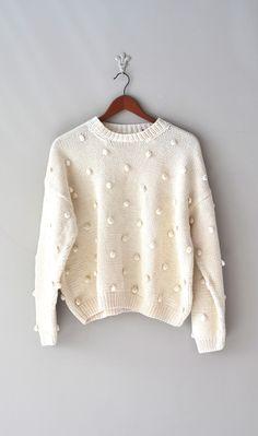 Vintage cream slouchy sweater, 1980s
