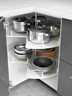 Small kitchen space? IKEA kitchen interior organizers, like corner cabinet carousels, make use of the space you have to make room for all your kitchen gadgets!