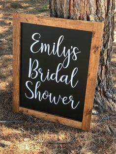 Bridal Shower Chalkboard, Bridal Shower Signs, Bridal Shower Decorations, Chalkboard Welcome Signs, Framed Chalkboard, Plan My Wedding, Black Paper, Shower Ideas, Daisy