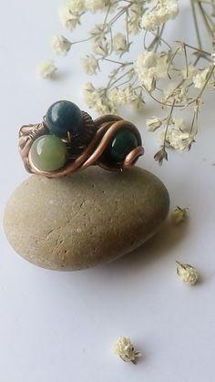 Copper ringHandmade copper ring with green stones от Tangledworld
