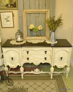 Old White from Annie Sloan Chalk Paint and antiqued with a dark brown glaze