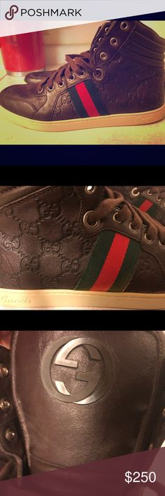Gucci High Top Sneakers GUCCI Mens 9G* brown CODA GUCCISSIMA High Top Sneakers Shoes Sneakers