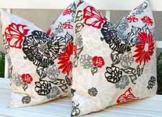 Decorative Pillows Invigorate Pillow Covers  20 x 20 Inches Red, Black, Gray and White on Beige Modern Large Scale Floral